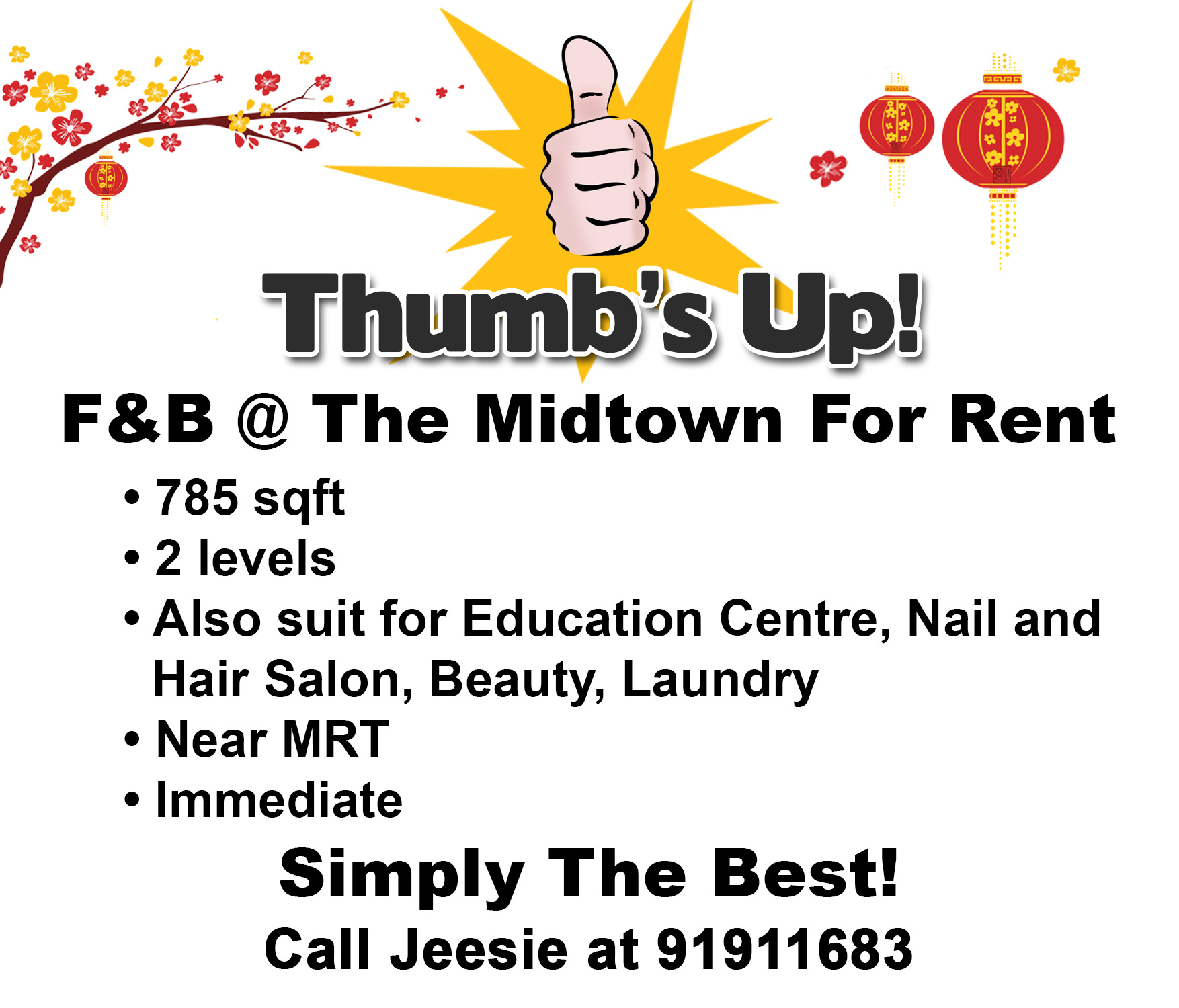 F&B @ The Midtown For Rent
