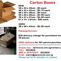 We Sell New/Used Carton Boxes Ideal for your Storage/Moving Purposes.